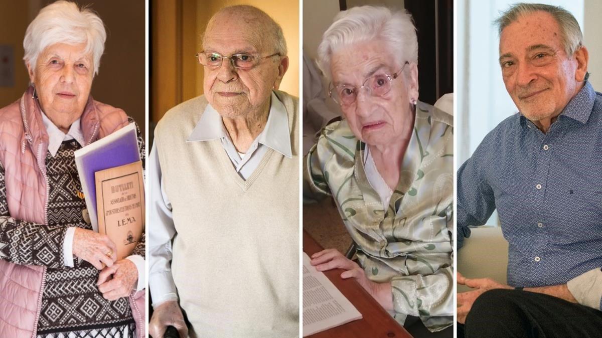 Maria Montserrat, Artur, Maria Àngels y Alfonso, ancianos confinados durante el coronavirus.