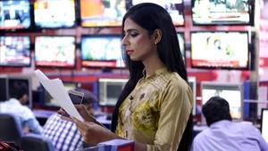 Marvia Malik, en los estudios de Kohenoor TV,en Lahore.
