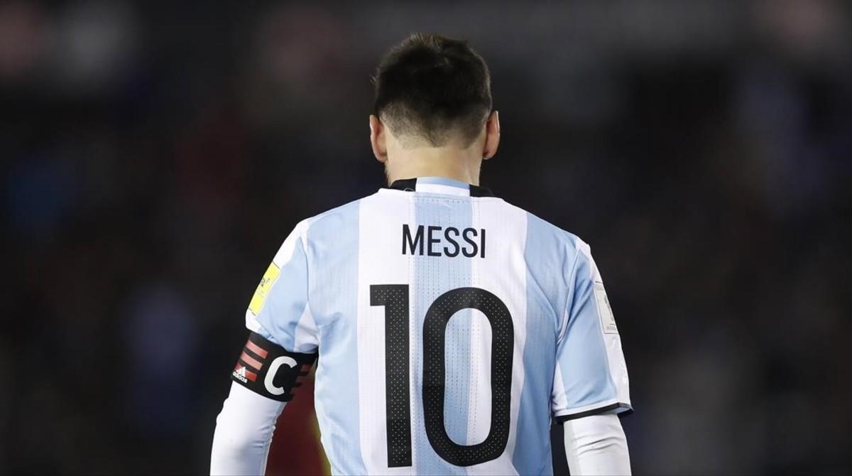 Messi, durante el último partido entre Argentina y Venezuela.