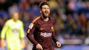 Messi festeja uno de sus goles al Deportivo en Riazor.
