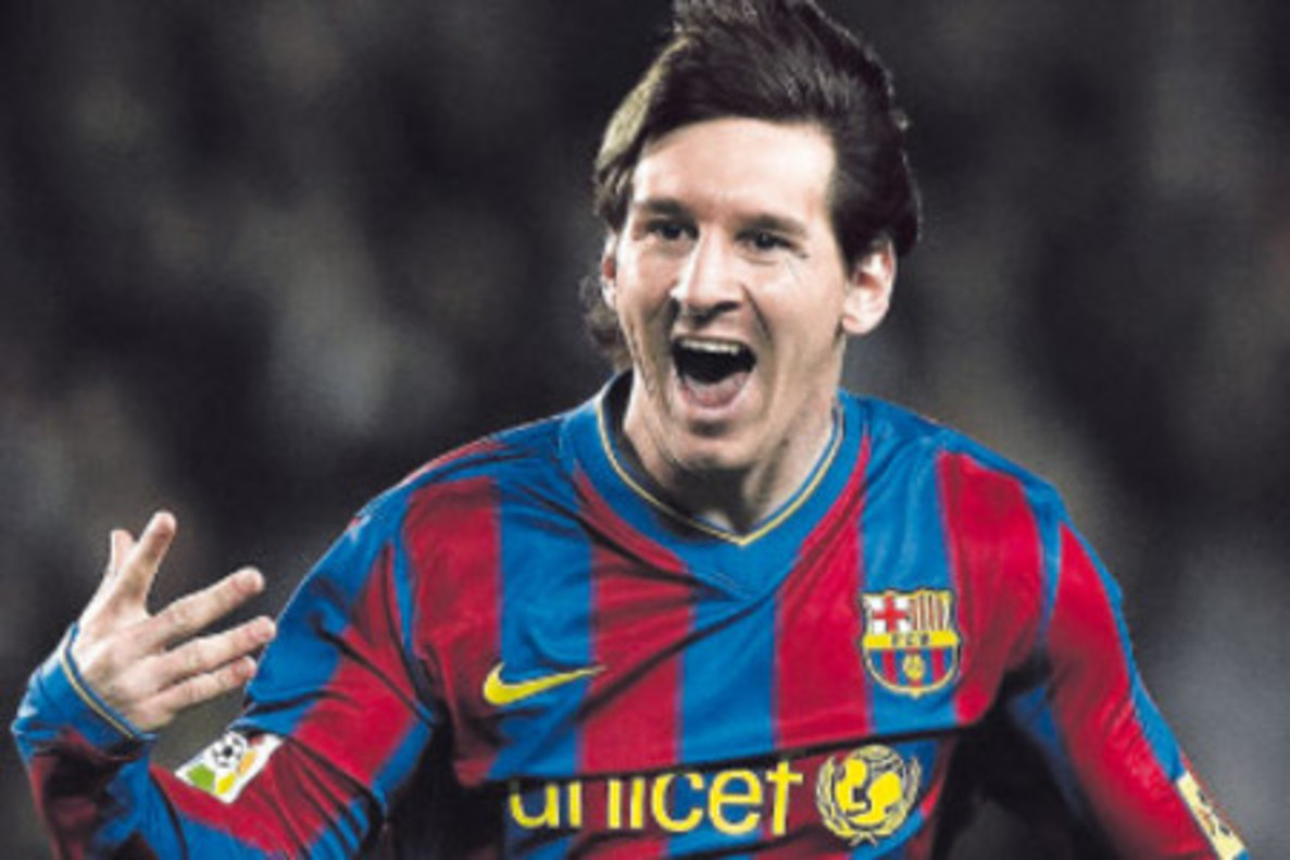 Messi, en un partido con el Barça.