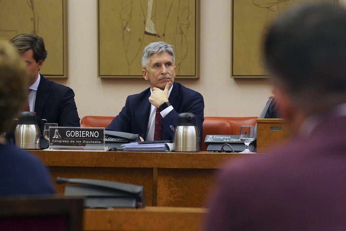 El ministro del Interior, Grande Marlaska, en una comparecencia en el Congreso.