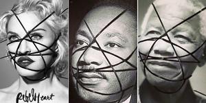 Muntatge de la portada del disc de Madonna i les fotos manipulades de Luther King i Mandela.