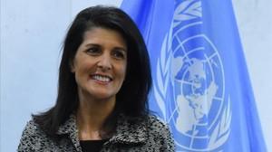 Nikki Haley, en la ONU, este viernes.