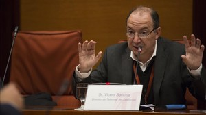 El director de TVC, Vicent Sanchis, en la comisión de control parlamentario de la CCMA.