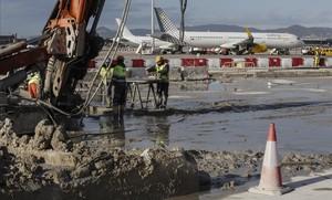 Obras del acceso ferroviario al aeropuerto de El Prat.