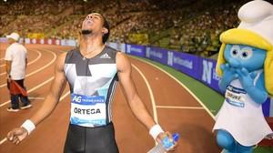 Orlando Ortega celebra su victoria en los 110 metros vallas del mitin de Bruselas.