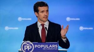 Pablo Casado, durante el comité ejecutivo nacional del PP celebrado en Barcelona.