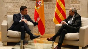 Pedro Sánchez y Quim Torra, reunidos en el Palau de la Generalitat, el pasado 6 de febrero.