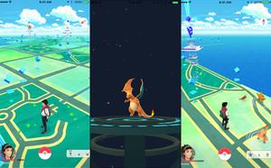 Mapa de Pokémon Go con un charizard, criatura muy popular y difícil de atrapar en el juego.