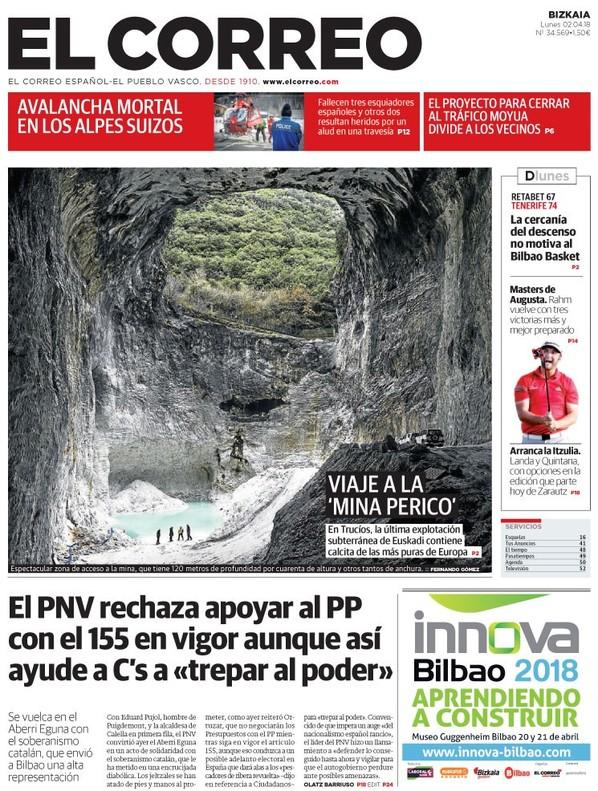 """""""El PNV exige el fin del 155 pero no la libertad de Puigdemont"""", titula 'Abc'"""