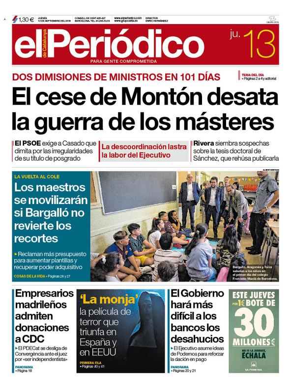 La portada de EL PERIÓDICO del 13 de septiembre del 2018