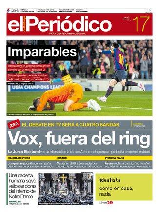 La portada de EL PERIÓDICO del 17 de abril del 2019