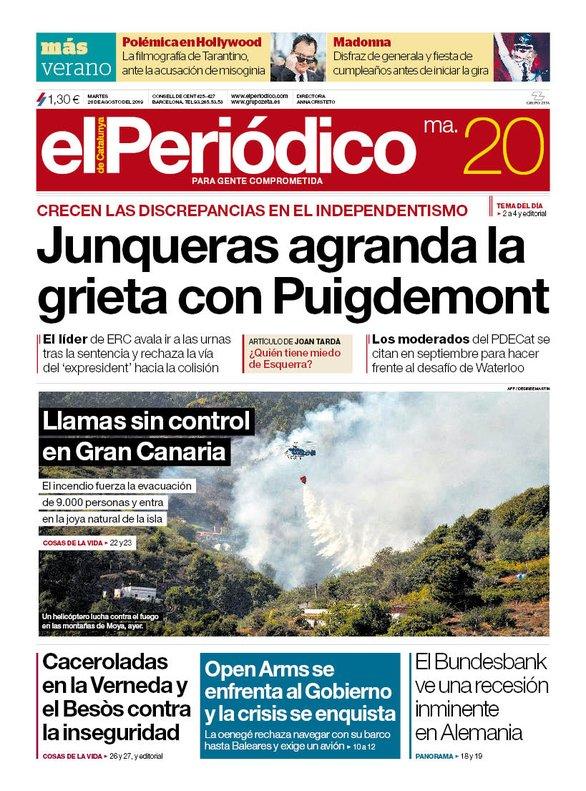 La portada de EL PERIÓDICO del 20 de agosto del 2019