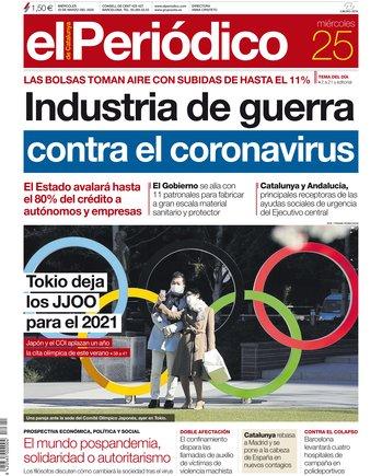 La portada de EL PERIÓDICO del 25 de marzo del 2020