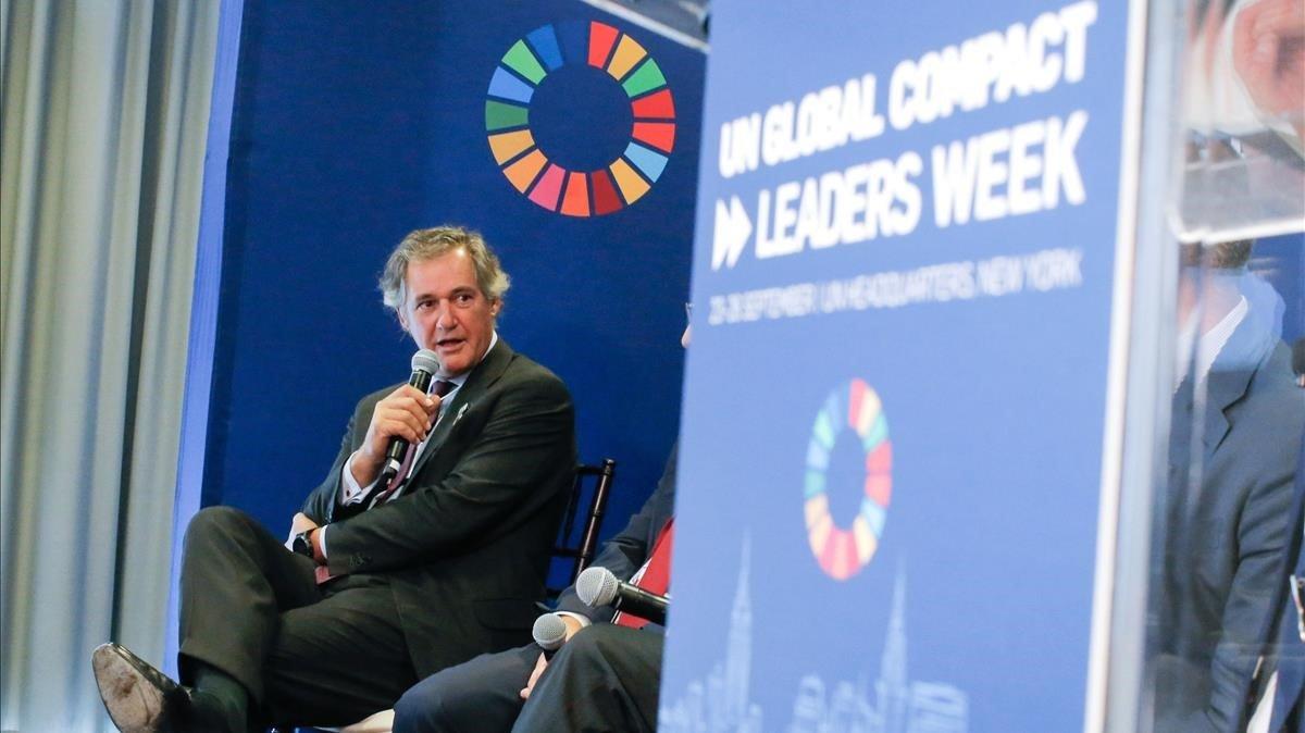 El presidente de Acciona José Manuel Entrecanales, durante su intervencion en la Cumbre de Acción Climática de Naciones Unidas, el pasado 23 de septiembre.