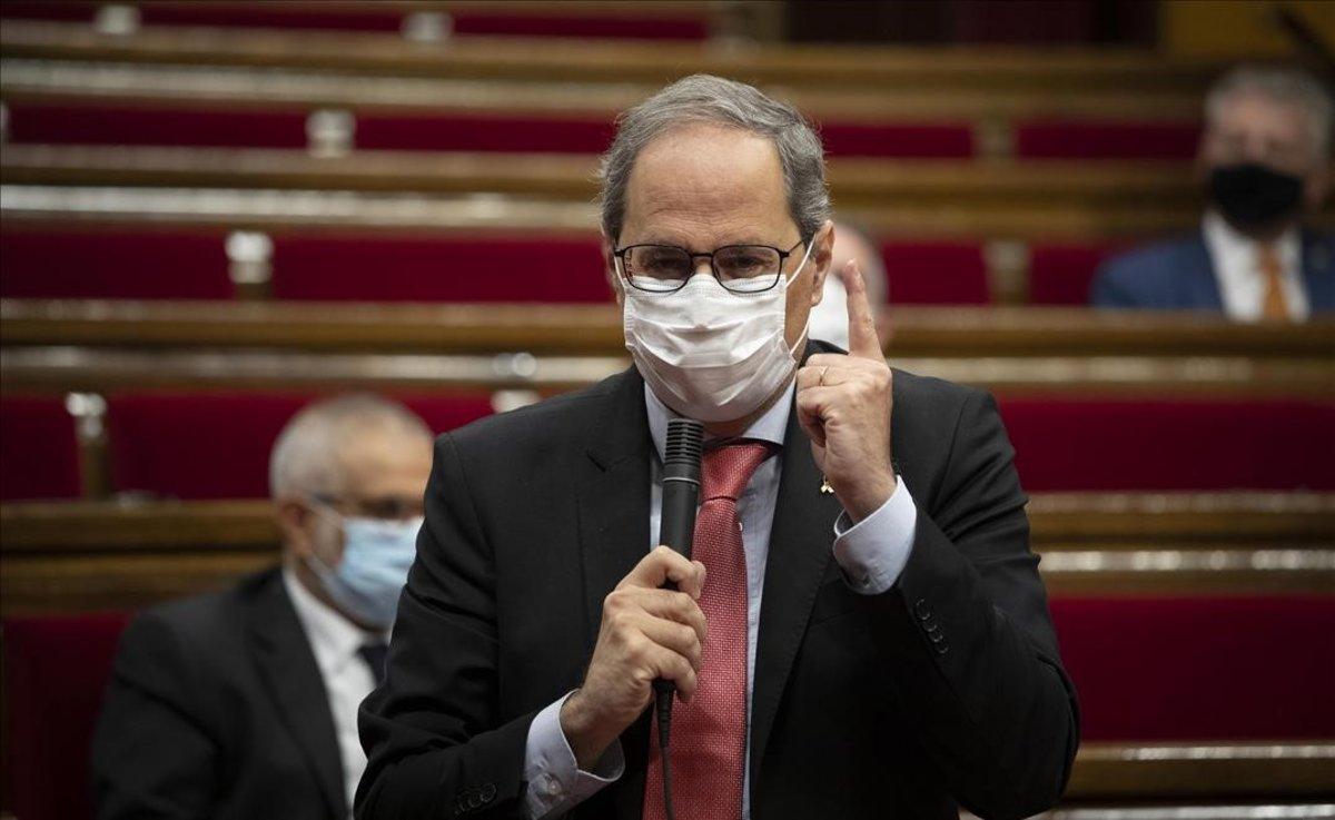 Quim Torra, en el pleno del Parlament, el 9 de septiembre pasado.