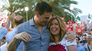 Sánchez y Díaz, el pasado 24 de junio en un mitin en Sevilla.