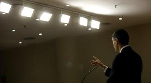 Sánchez, en rueda de prensa en el Congreso tras su encuentro con el Rey.