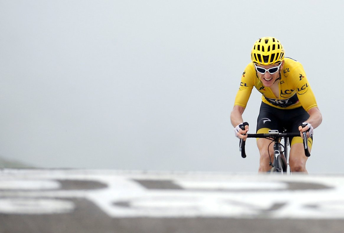 Cycling - Tour de France - The 65-km Stage 17 from Bagneres-de-Luchon to Saint-Lary-Soulan Col du Portet - July 25, 2018 - Team Sky rider Geraint Thomas of Britain, wearing the overall leader's yellowjersey, finishes. REUTERS/Stephane Mahe TPX IMAGES OF THE DAY