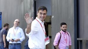 Pedro Sánchez, a su llegada al congreso del PSOE.