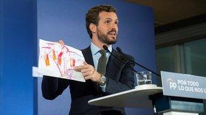 Pablo Casado, en un mitin en Santander este martes, enseña un dibujo que le ha hecho un niño ingresado en el Hospital de Valdecilla.