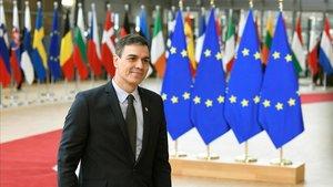 El presidente Pedro Sánchez a su llegada a un Consejo Europeo el pasado mes de febrero.
