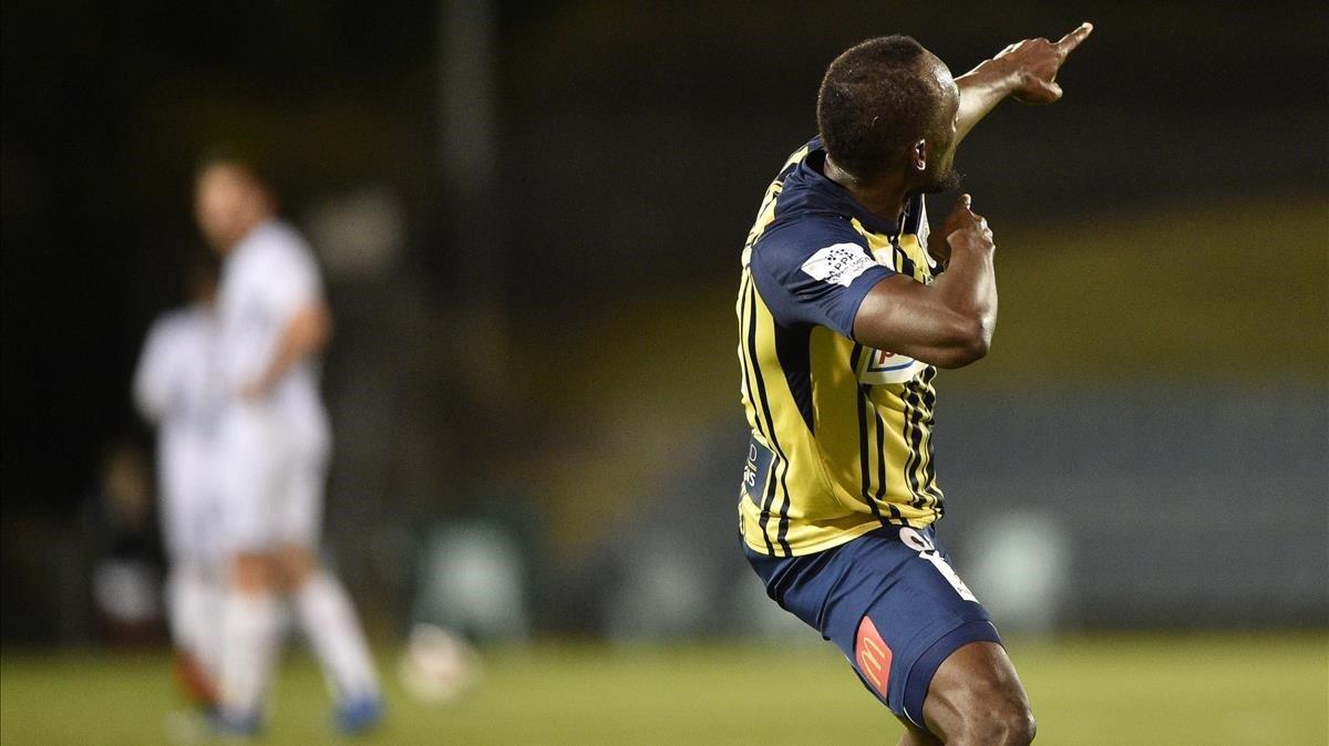 Usain Bolt anotó sus dos primeros goles en el fútbol de Australia