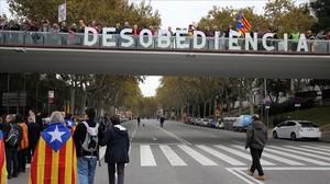 Imagen de la concentración del pasado 13 de noviembre en Barcelona contra la judicialización del proceso independentista.