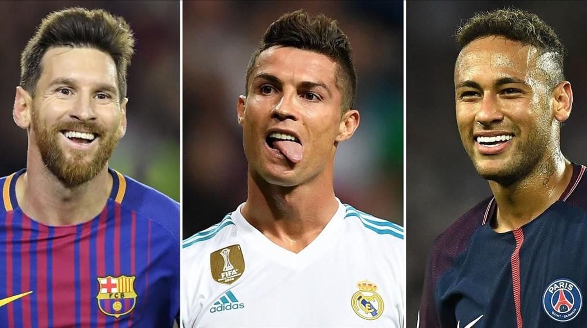 De izquierda a derecha, Lionel Messi, Cristiano Ronaldo y Neymar Jr.
