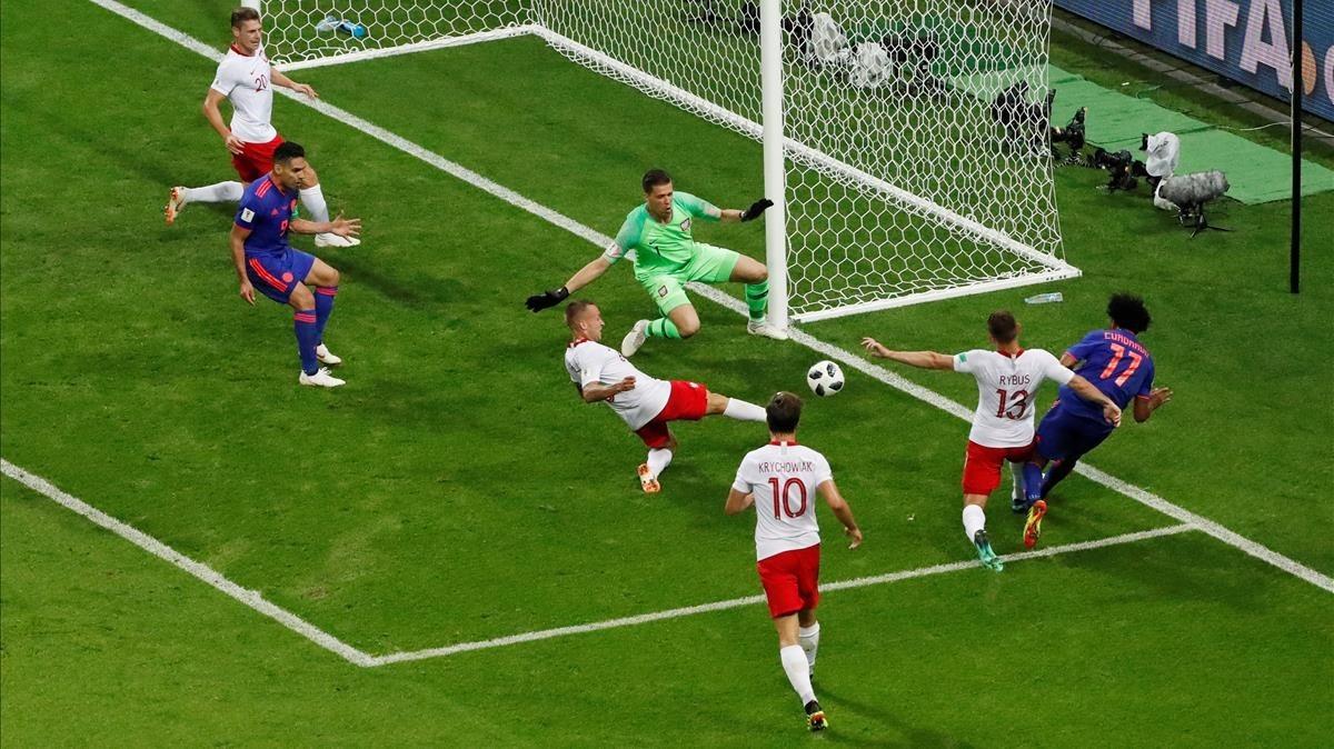 Imagen del partido del MundialPolonia-Colombia, celebradoel pasado domingo.