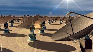 Representación gráfica de las instalaciones del futuro proyecto 'Square Kilometre Array' (SKA), el radiotelescopio más potente del mundo que se construirá entre Australia y Sudáfrica