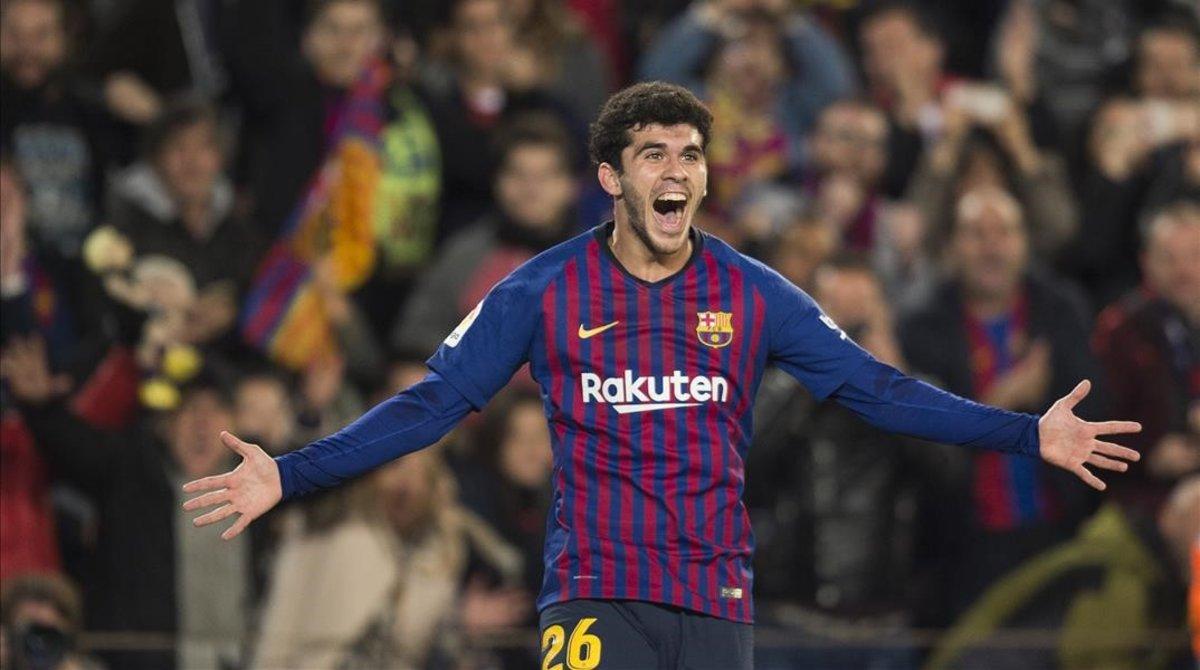 Aleñá celebra su gol ante el Villarreal.