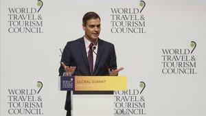 Pedro Sánchez,durante su intervención en la Cumbre del Consejo Mundial de Viajes y Turismo.