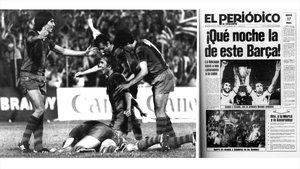 La celebración azulgrana en el estadio y la portada de EL PERIÓDICO del 17 de mayo de 1979.