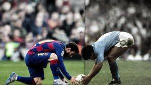 Fotomontaje con el encuentro en San Paolo de Messi y Maradona.