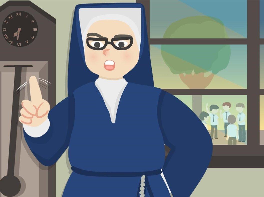 Cuidado con los pollos. Toto, la abuela de Nico, creció en un colegio de monjas a mediados de los 50 del que no le dejaban salir si había 'pollos', chicos, en la calle.