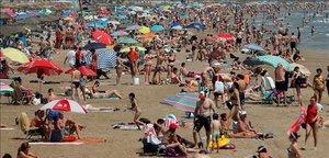 La playa de Malvarrosa de València, el pasado 4 de julio.