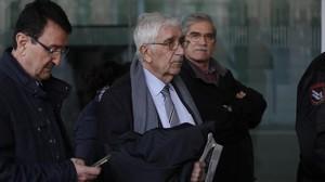 El extesorero de CDC Daniel Osàcar, a su llegada este jueves a la Ciutat de la Justícia.