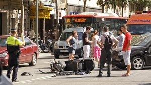 Accidente de moto en Barcelona.