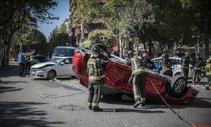 Accidente de tráfico en Barcelona en el 2018.