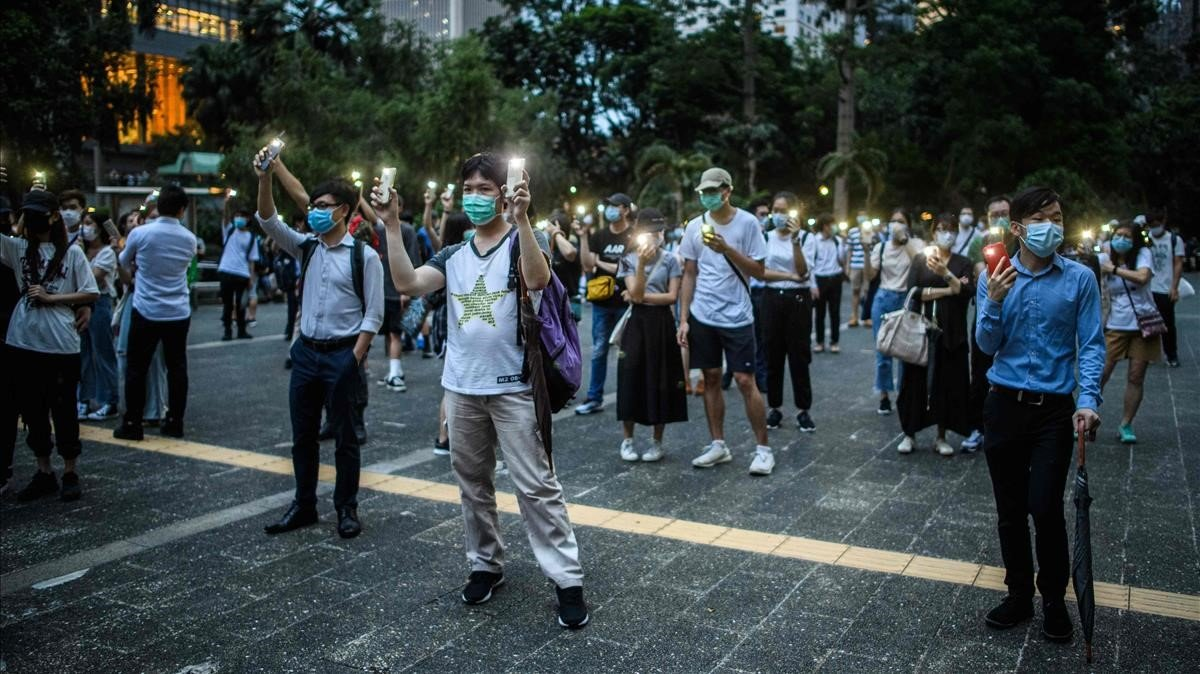 Activistas prodemocracia protestan en el centro de Hong Kong el pasado 9de junio.