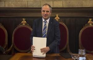 El alcalde de Girona, Albert Ballesta, durante el pleno de este jueves.