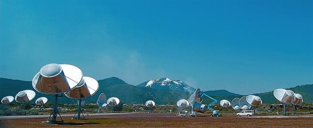 Antenas del Allen Telescope Array (ATA), en el observatorio de Hat Creek, en el norte de California (Estados Unidos).