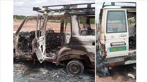 Imagen del vehículo donde viajaban los turistas franceses con el guía y el conductor.