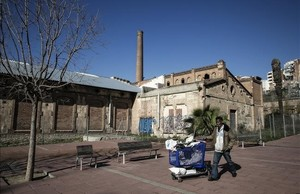 Aspecto actual de la antigua fábrica textil de L'Hospitalet Can Trinxet.