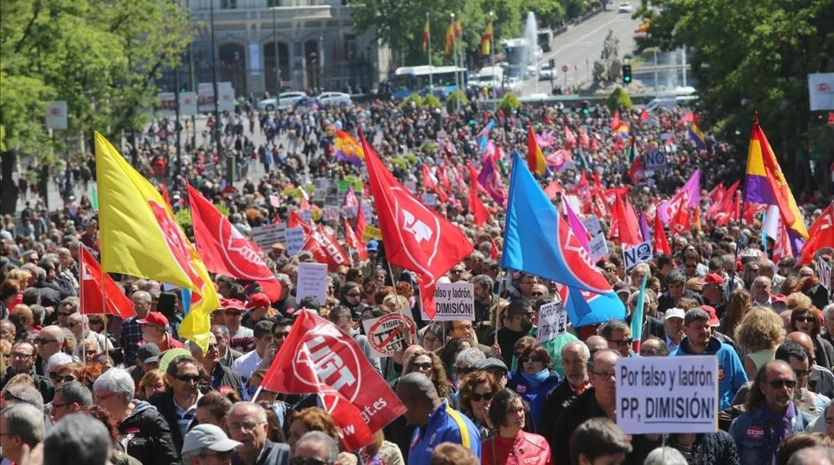 Aspecto de la manifestación en Madrid.