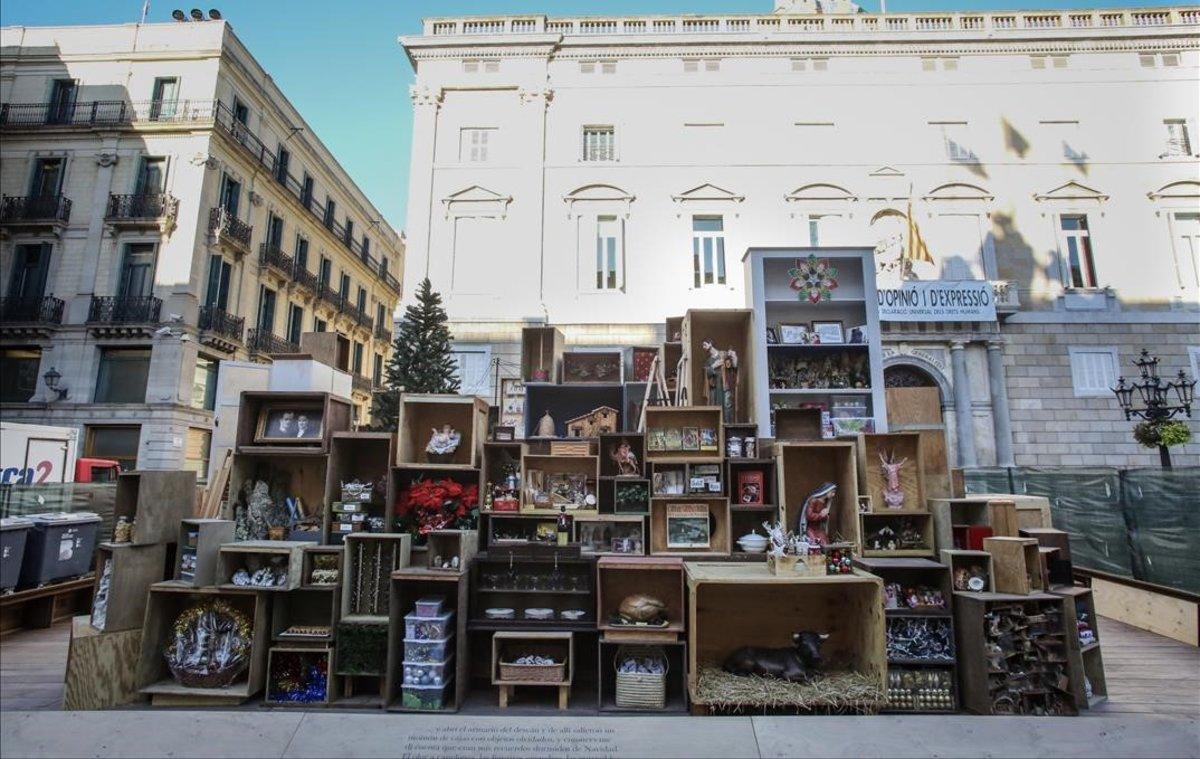 El belén de la plaza de Sant Jaume, en Barcelona.