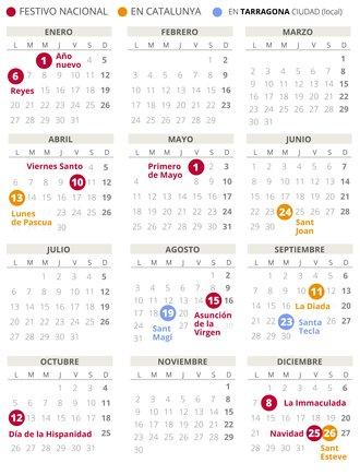 Calendari laboral de Tarragona del 2020 (amb tots els dies festius)