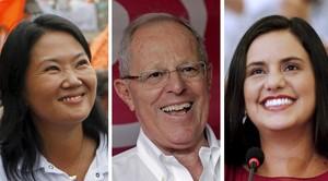 Los candidatos en las elecciones de Perú. De izquierda a derecha,Keiko Fujimori, Pedro Pablo Kuczynski y Verónika Mendoza.